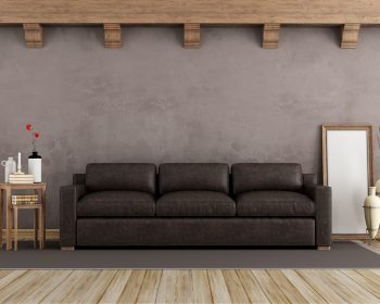 Brown vintage interior with old leather sofa - 3d rendering